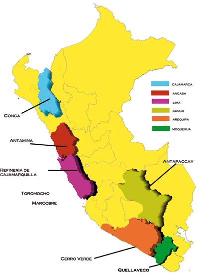 Mapa de las inversiones de Newmont en el Perú.