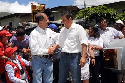 El ministro de Energía y Minas, Jorge Merino y el presidente Ollanta Humala.