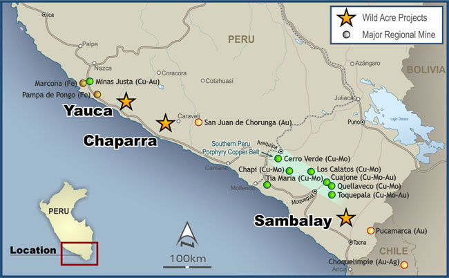 Location of Wild Acre Projects and Large Iron, Copper and Gold Projects in Southern Peru