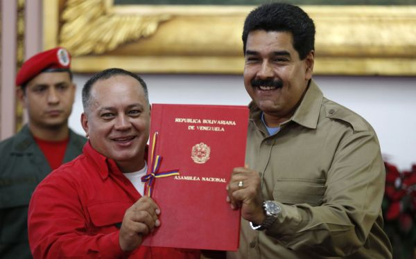 President Maduro receives document approving law granting him with decree powers in Caracas
