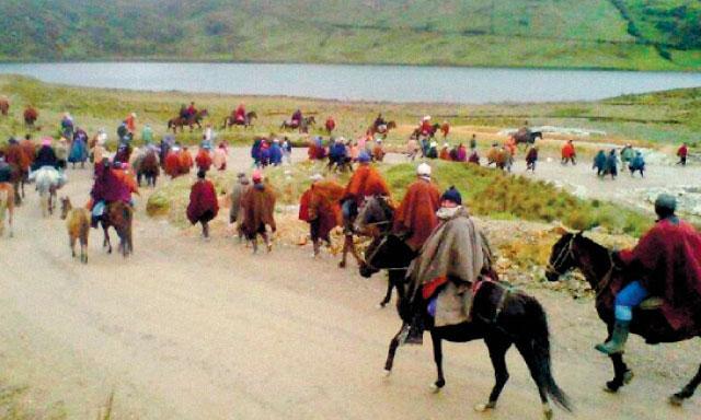 cabalgata. A pie y en acémilas se movilizaron los comuneros de Bambamarca, Celendín y Cajamarca para llegar a Conga.
