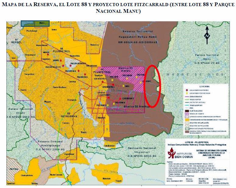 MAPA DE LA RESERVA TERRITORIAL Y EN CÍRCULO ROJO EL ÁREA DONDE SE PROYECTARÍA EL NUEVO LOTE FITZCARRALD, PELIGROSAMENTE COLINDANTE CON PARQUE NACIONAL DEL MANU Y EL SANTUARIO MEGANTONI. ELABORACIÓN: IBC