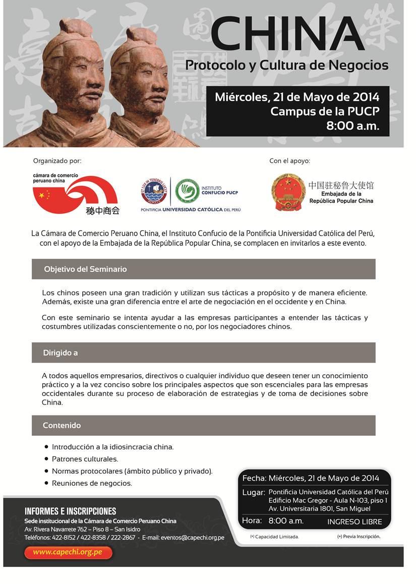 Invitación al Seminario CHINA - PROTOCOLO Y CULTURA DE NEGOCIOS