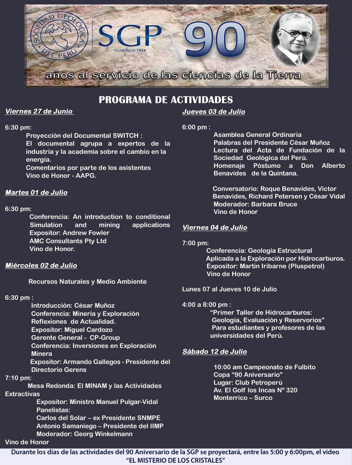 PROGRAMA DE ACTIVIDADES de SEMANA DE ANIVERSARIO