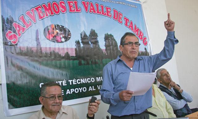 rechazo. Dirigentes de Tambo no aceptan proyecto Tía María. Otto Hito y Jaime de La Cruz, indicaron que se avizora protesta.(Foto: La República)