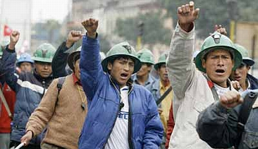 Peruvian miners protest in the streets in Lima