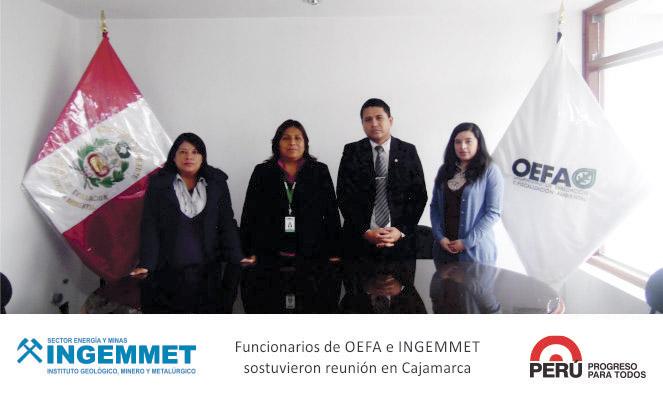 Cajamarca OEFA e INGEMMET acuerdan realizar talleres conjuntos dirigidos a la población