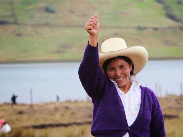 Máxima Acuña Atalaya no será desalojada de sus terrenos ubicados cerca del área de influencia del proyecto minero Conga. (Foto: Andina)