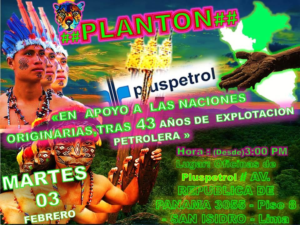 Convocan plantón para mañana frente a oficinas de Pluspetrol en Lima