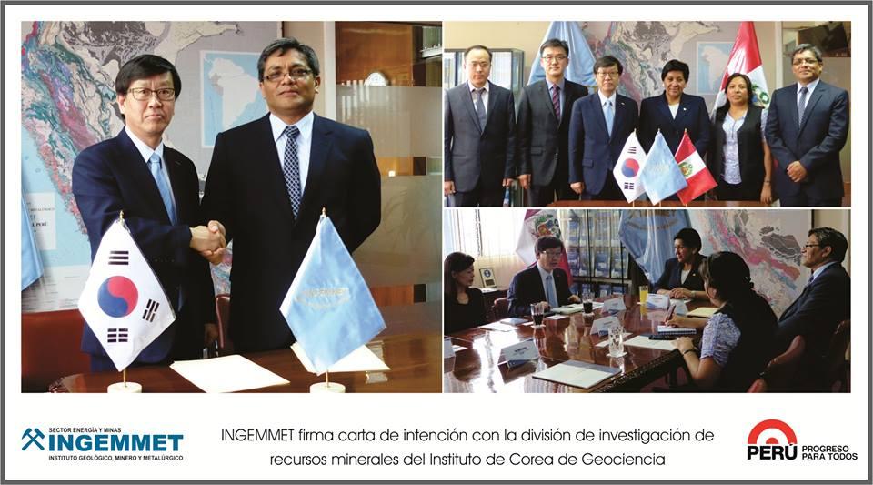 INGEMMET firma carta de intención con la División de Investigación de Recursos Minerales del Instituto de Corea de Geociencia