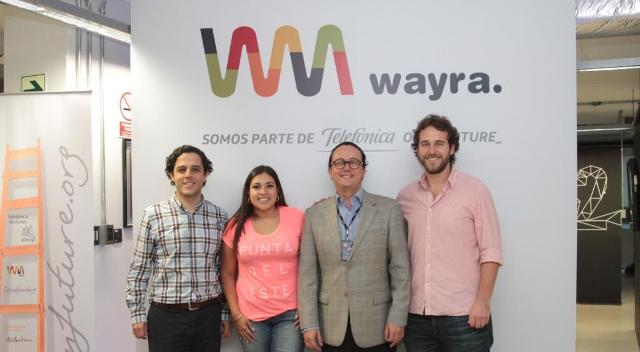 Giancarlo Falconi, gerente de Negocios de Wayra Perú,  Amparo Nalvarte CEO de Culqi, Alexander Gómez, director Ejecutivo Wayra Perú y Domingo Seminario, COO de Joinnus, tras el lanzamiento de la nueva convocatoria global de proyectos tecnológicos de Wayra Perú.
