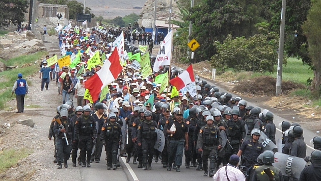 Movilizaciones contra Tía María continúan en el valle de Tambo. (USI)
