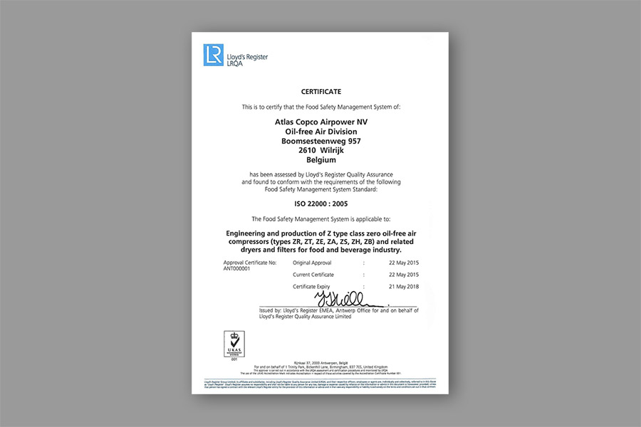 ISO 22000 Certificate Atlas Copco Antwerp