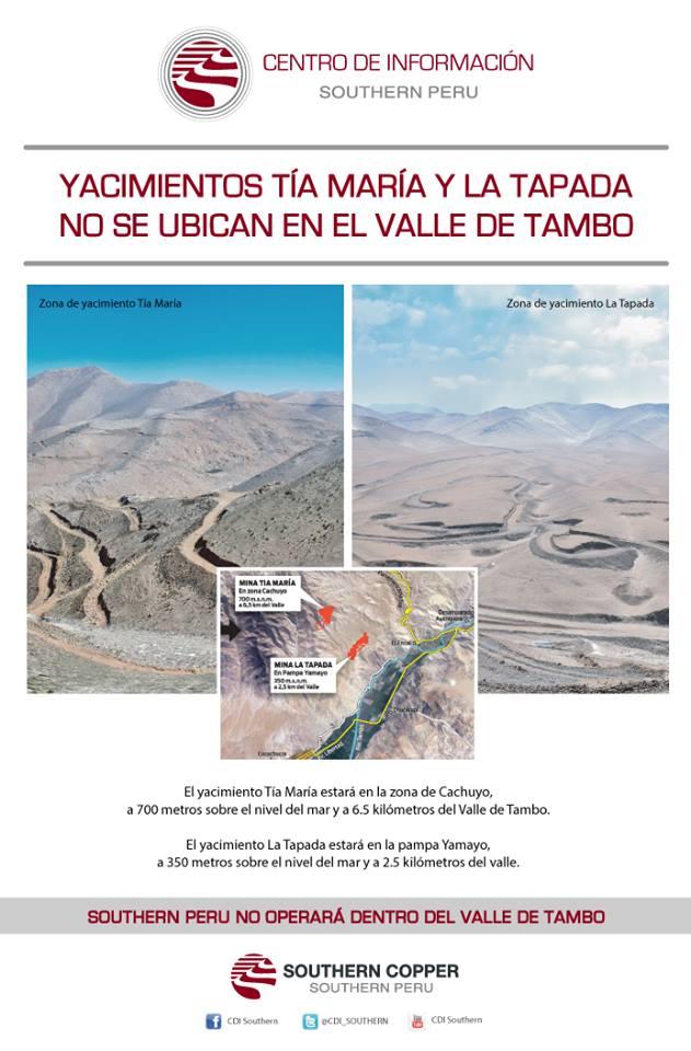 Southern Perú no operará dentro del Valle de Tambo