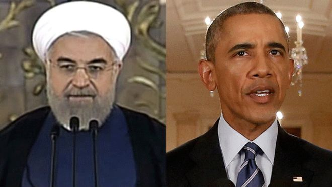 El presidente de Irán, Hassan Rouhani y el de EE.UU., Barack Obama anunciaron prácticamente al mismo tiempo el acuerdo el martes. (Foto: BBC)
