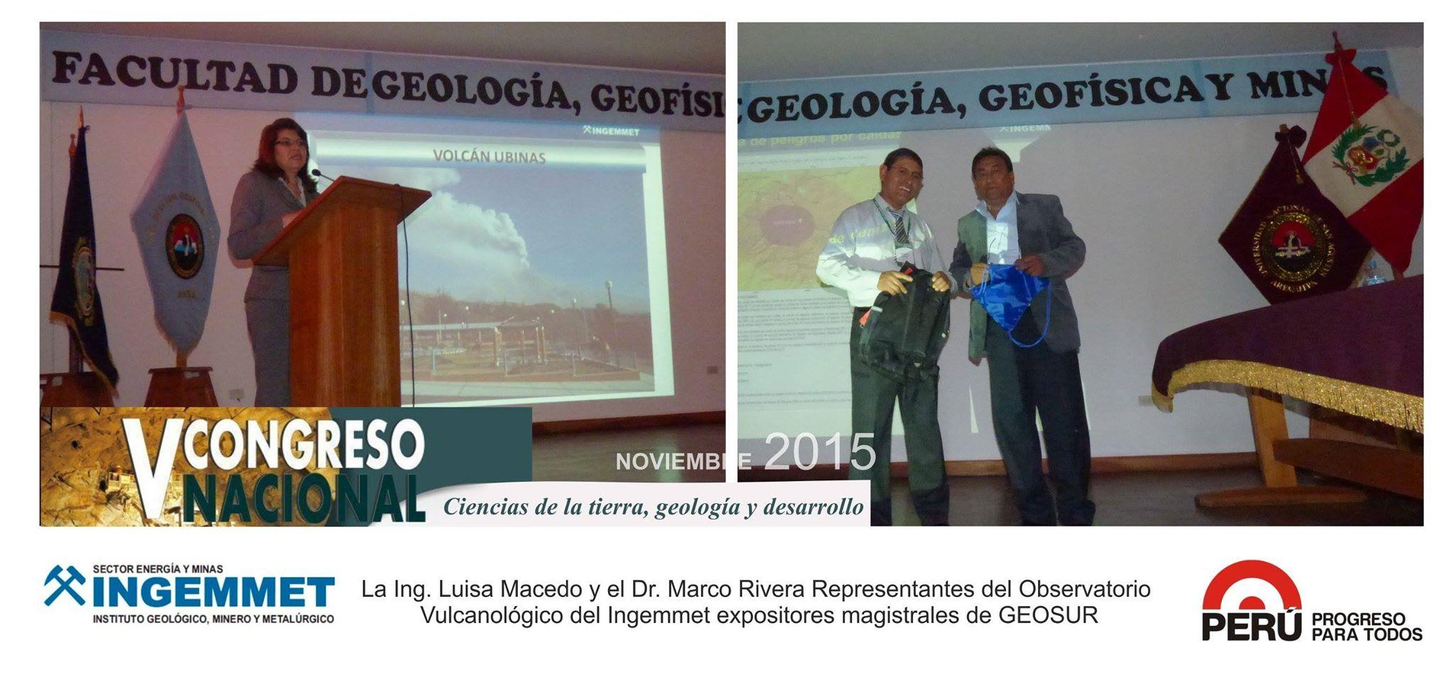 ESPECIALISTAS DEL INGEMMET EXPONEN EN CONGRESO GEOSUR