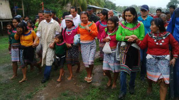 Ollanta Humala llegó a Ucayali acompañado de ministros y su esposa Nadine Heredia. (Foto: Lino Chipana / El Comercio)