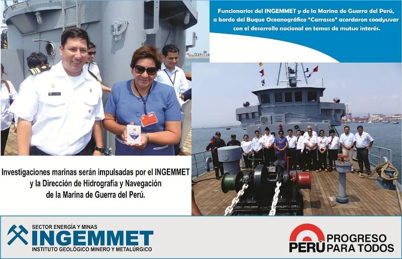 INGEMMET y la Marina de Guerra del Perú unidas para realizar investigaciones marinas