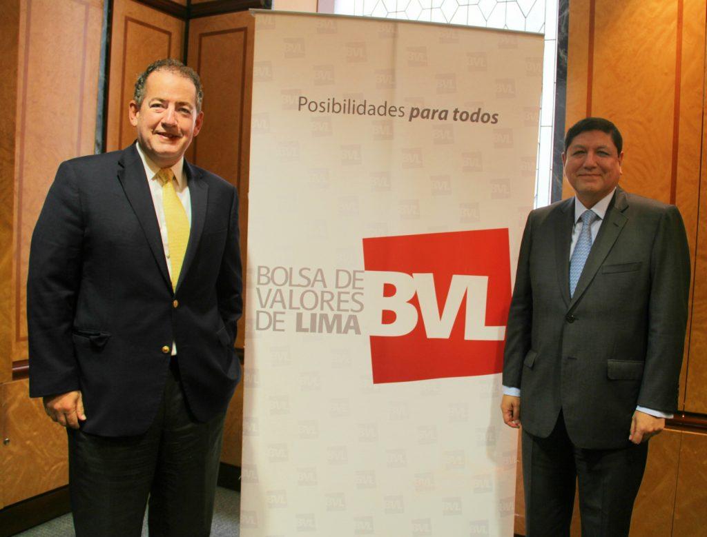 Francis Stenning, gerente general de la BVL y Marco Antonio Zaldívar, Presidente de la BVL