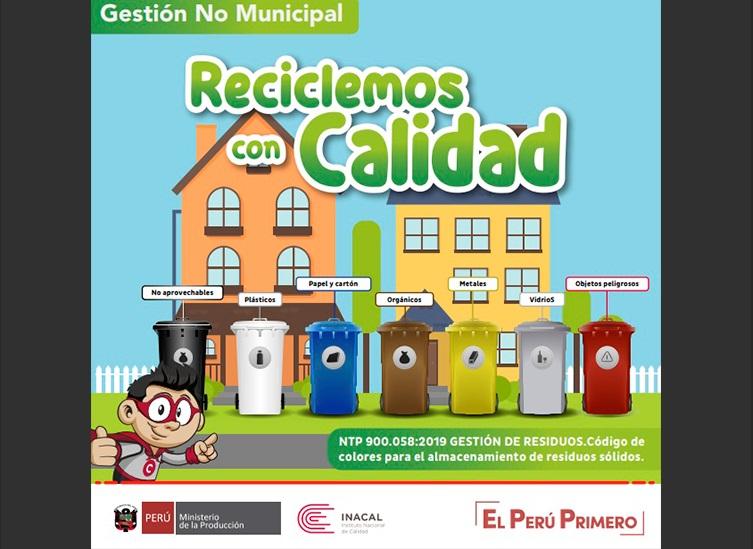 Se aprobó Norma Técnica Peruana para segregación de residuos por colores