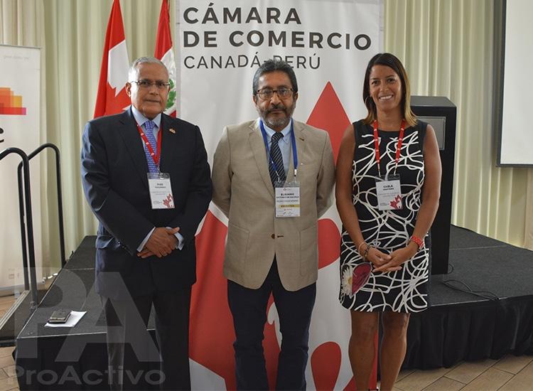 José Vizquerra,  Presidente de la Cámara de Comercio Canadá Perú; Elsiario Antúnez de Mayolo, gerente general de Bear Creek en Perú y  Carla Martínez, Gerente General de la Cámara de Comercio Canadá Perú