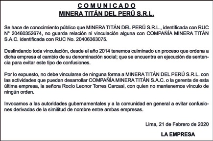 Minera Titán del Perú