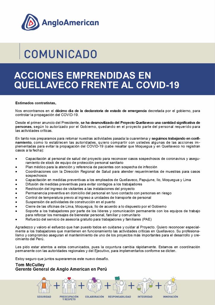 Acciones emprendidas en Quellaveco frente al Covid-19 (Comunicado)