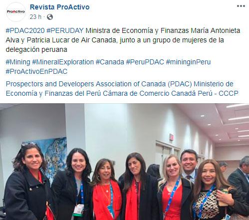 #PDAC2020 #PERUDAY Ministra de Economía y Finanzas María Antonieta Alva y Patricia Lucar de Air Canada, junto a un grupo de mujeres de la delegación peruana