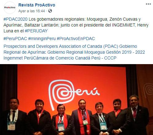 #PDAC2020 Los gobernadores regionales: Moquegua, Zenón Cuevas y Apurímac, Baltazar Lantarón; junto con el presidente del INGEMMET, Henry Luna en el #PERUDAY