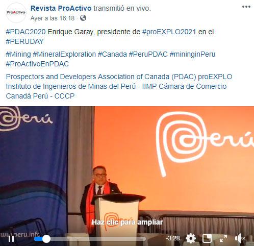 #PDAC2020 Enrique Garay, presidente de #proEXPLO2021 en el #PERUDAY (Video)