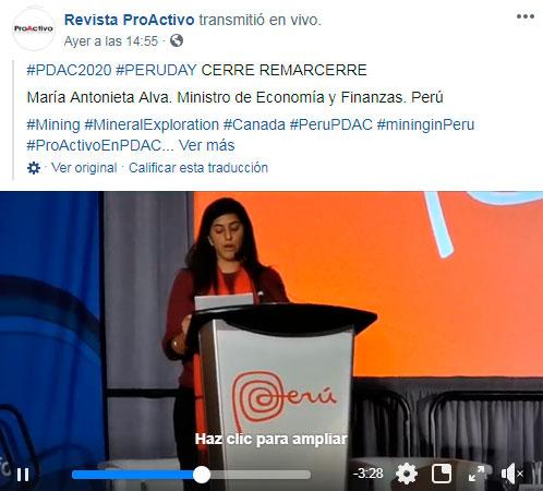 #PDAC2020 #PERUDAY CERRE REMARCERRE. María Antonieta Alva. Ministro de Economía y Finanzas. Perú