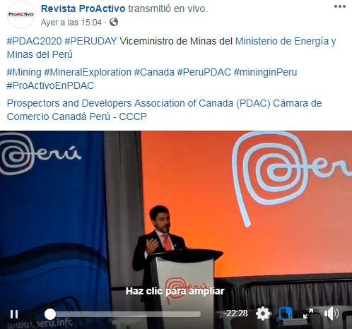 #PDAC2020 #PERUDAY Viceministro de Minas del Ministerio de Energía y Minas del Perú (Video)