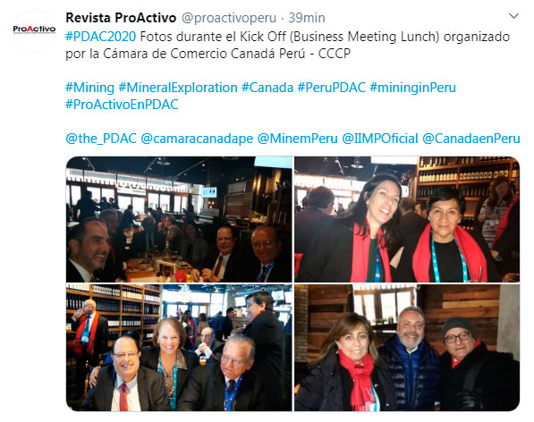 #PDAC2020 Fotos durante el Kick Off (Business Meeting Lunch) organizado por la Cámara de Comercio Canadá Perú - CCCP.