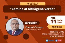 """CIP invita al webinar: """"Camino al hidrógeno verde"""" (Viernes 11 de junio   6pm)"""