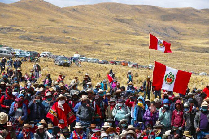 dirigentes y comuneros del corredor minero en la provincia de Chumbivilcas, en Cusco